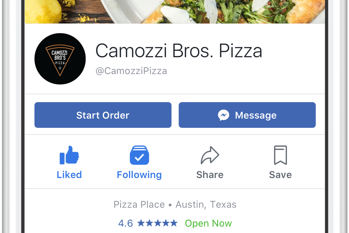 Facebook now allows its users to Order Food
