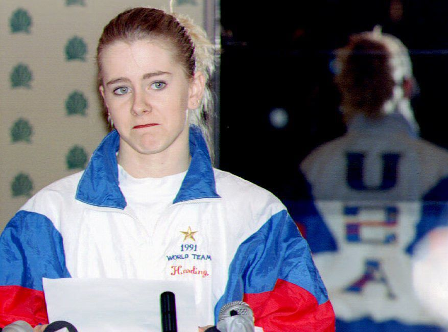 The real-life Tonya Harding reading from a statement during a January 1994 press conference