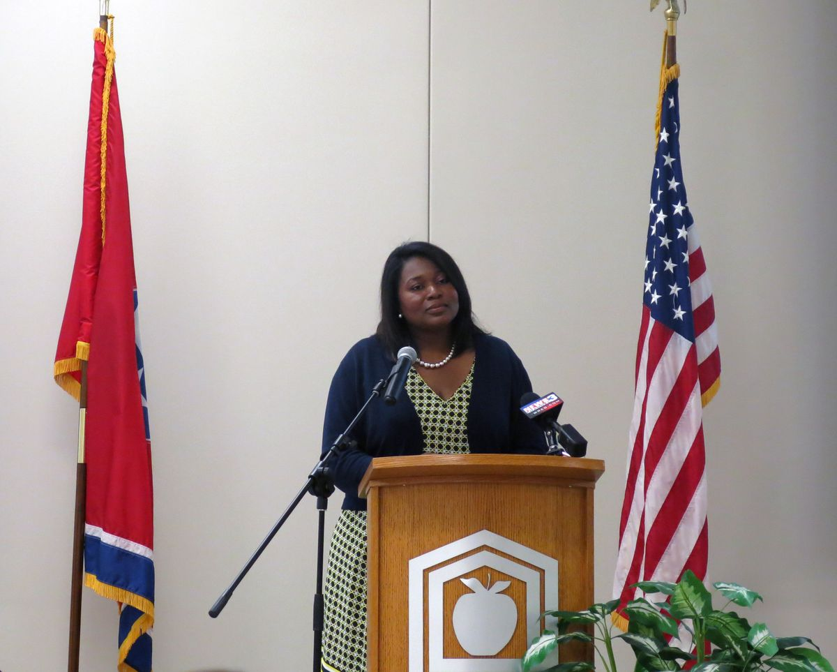 Assistant Commissioner Nakia Towns clarifies changes behind this year's test scores during remarks before educators in Memphis.