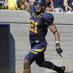 California's Keenan Allen celebrates after scoring against Southern Utah during the second half of an NCAA college football game Saturday, Sept. 8, 2012, in Berkeley, Calif. (AP Photo/Ben Margot)