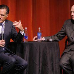 Gov. Mitt Romney and Utah Sen. Bob Bennett speak during a forum in Salt Lake City, Utah, Tuesday, April 7, 2009. Romney in town for a Bennett fundraiser and the forum.