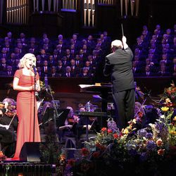 Guest artist Katherine Jenkins performs with Mormon Tabernacle Choir and Orchestra at Temple Square during dress rehearsal July 19, 2012 for Pioneer Day Concert. Choir musical director Mack Wilberg conducts