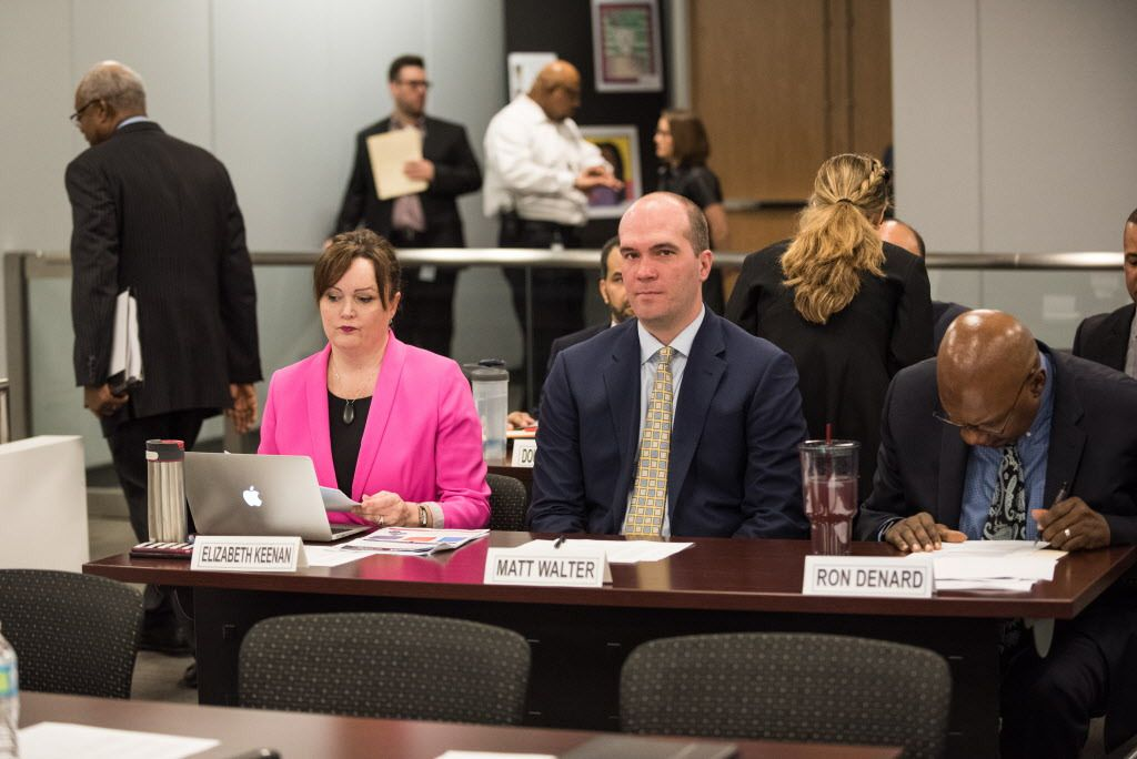 Matthew Walter, center, at a Chicago Board of Education meeting in February. | Max Herman / Sun-Times