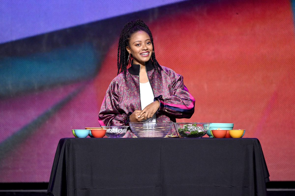 Haile Thomas speaks onstage during WE Day UN 2018 at Barclays Center in 2018 in New York City.