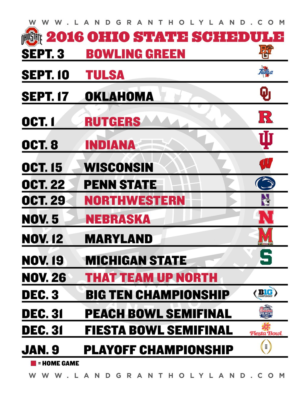 print your own 2016 ohio state football graphical schedule - land