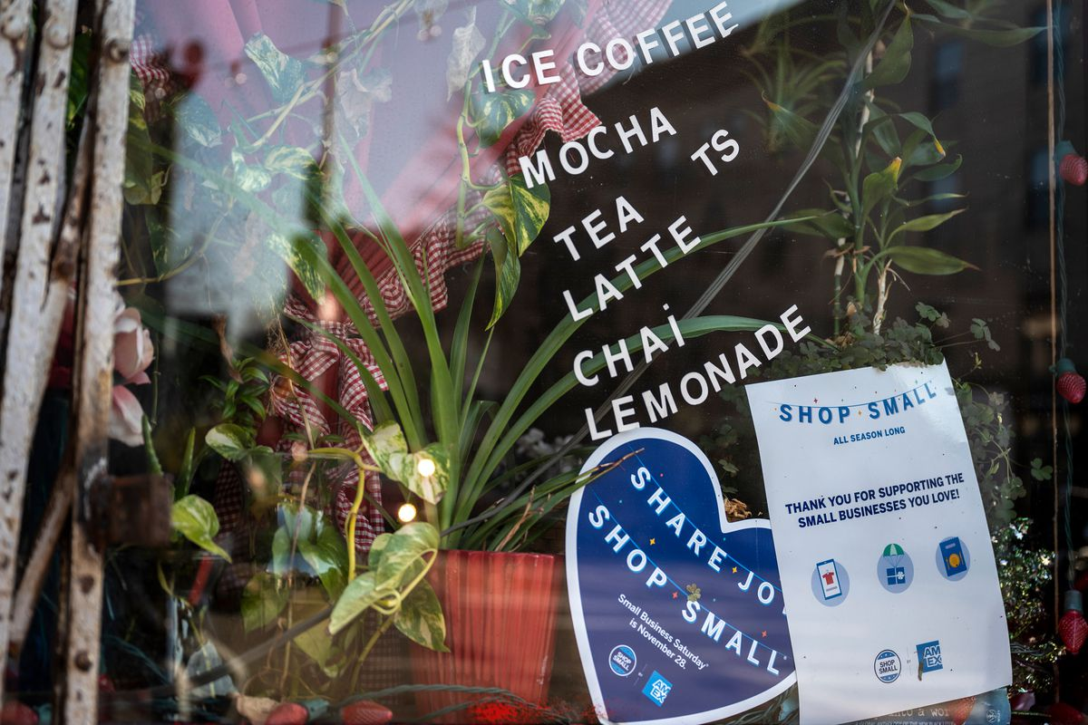 A coffee shop in Bed-Stuy, Brooklyn implores residents to support small businesses, Dec. 11, 2020.