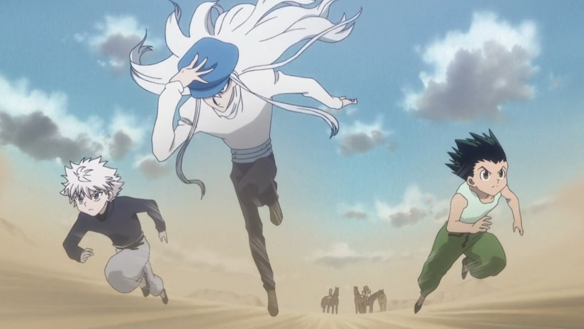 kite, a tall man with long white hair, running with killua and gon trailing