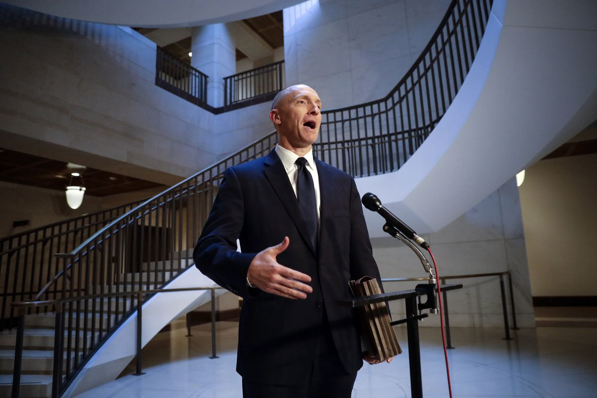"""President Donald Trump claimed on Sunday, July 22, 2018, that newly released documents relating to the wiretapping of his onetime campaign adviser Carter Page (above) """"confirm with little doubt"""" that intelligence agencies misled the courts that approved t"""