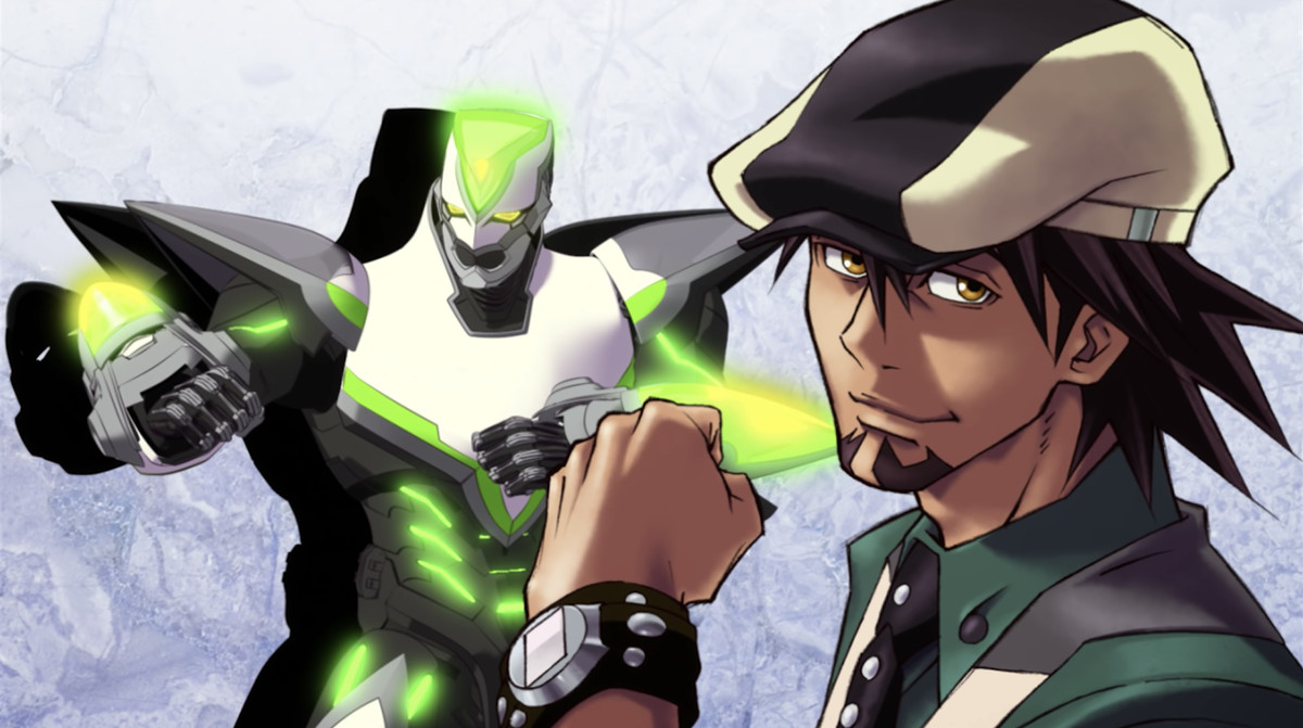 Kotetsu poses with his fist up, with his superhero alter ego Wild Tiger standing in the back