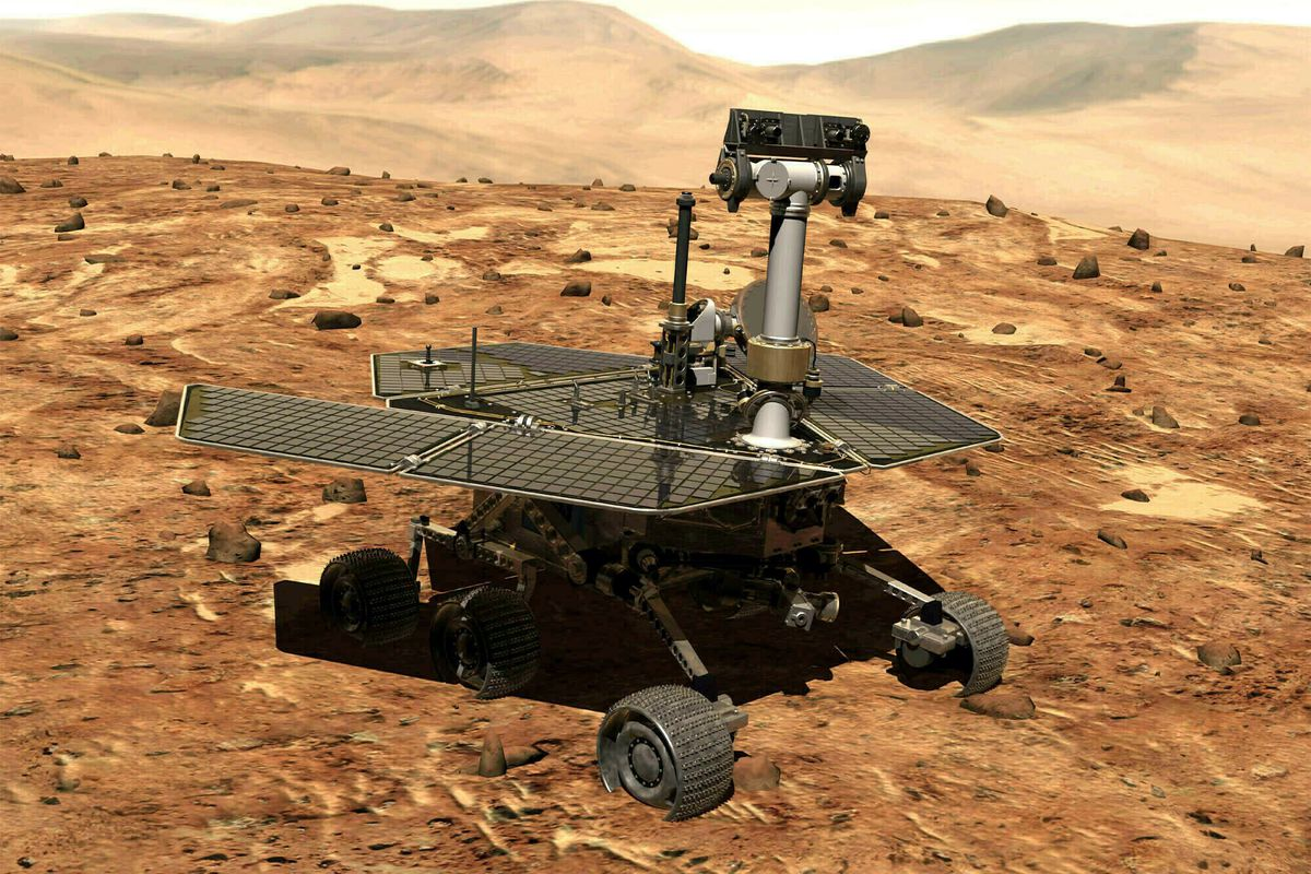 FILE - This illustration made available by NASA shows the rover Opportunity on the surface of Mars. The exploratory vehicle landed on Jan. 24, 2004, and logged more than 28 miles (45 kilometers) before falling silent during a global dust storm in June 201