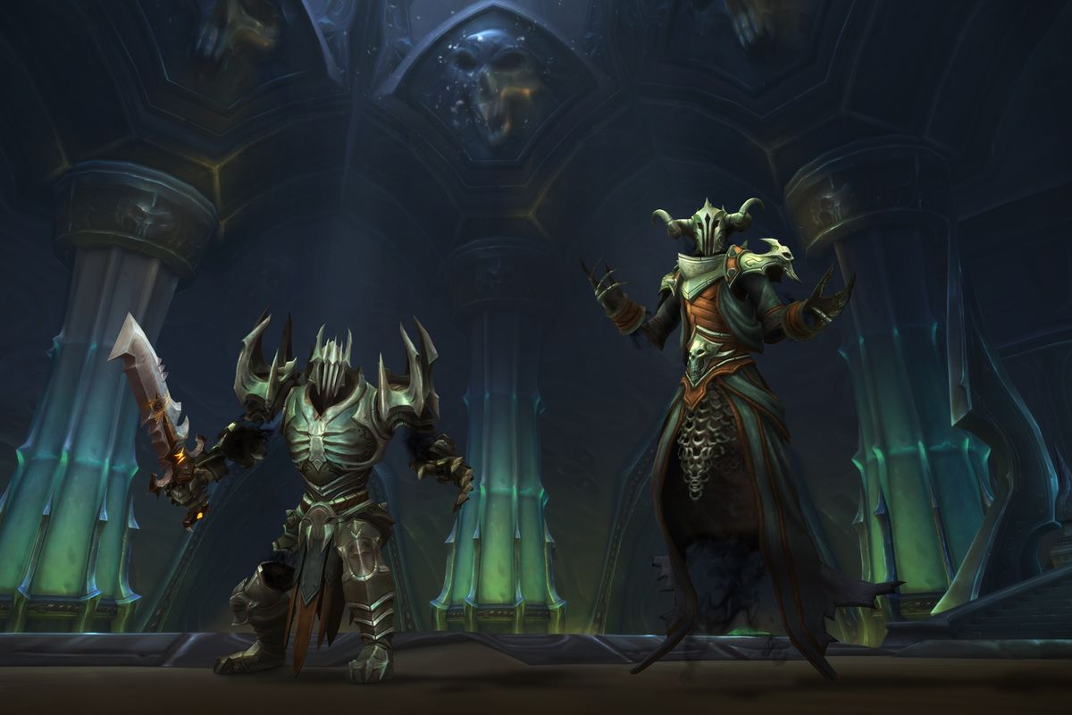 two armored knights ready for action with three pillars behind them in World of Warcraft: Shadowlands