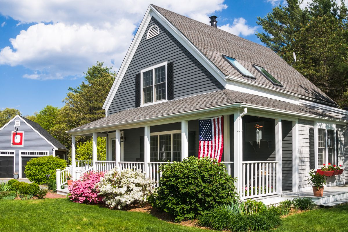 Home with American flag.
