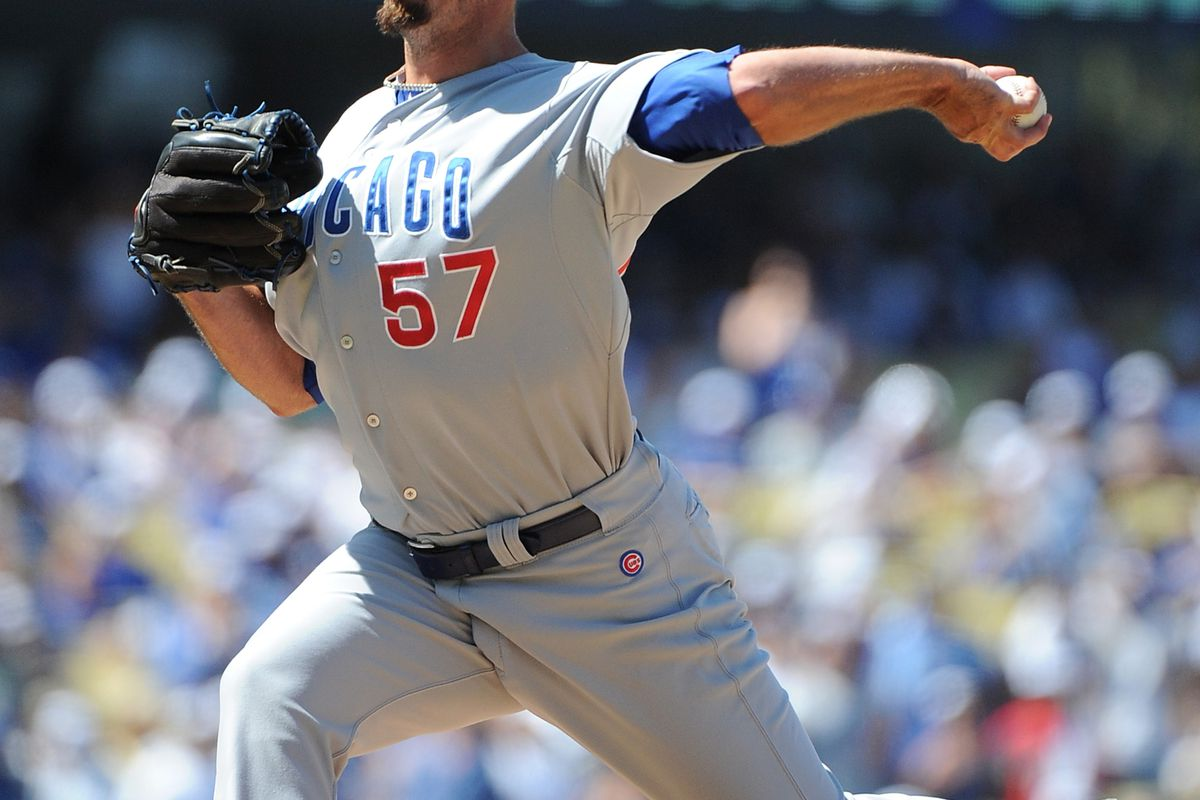 LOS ANGELES, CA - AUGUST 05:  Scott Maine #57 of the Chicago Cubs pitches against the Los Angeles Dodgers at Dodger Stadium on August 5, 2012 in Los Angeles, California.  (Photo by Lisa Blumenfeld/Getty Images)