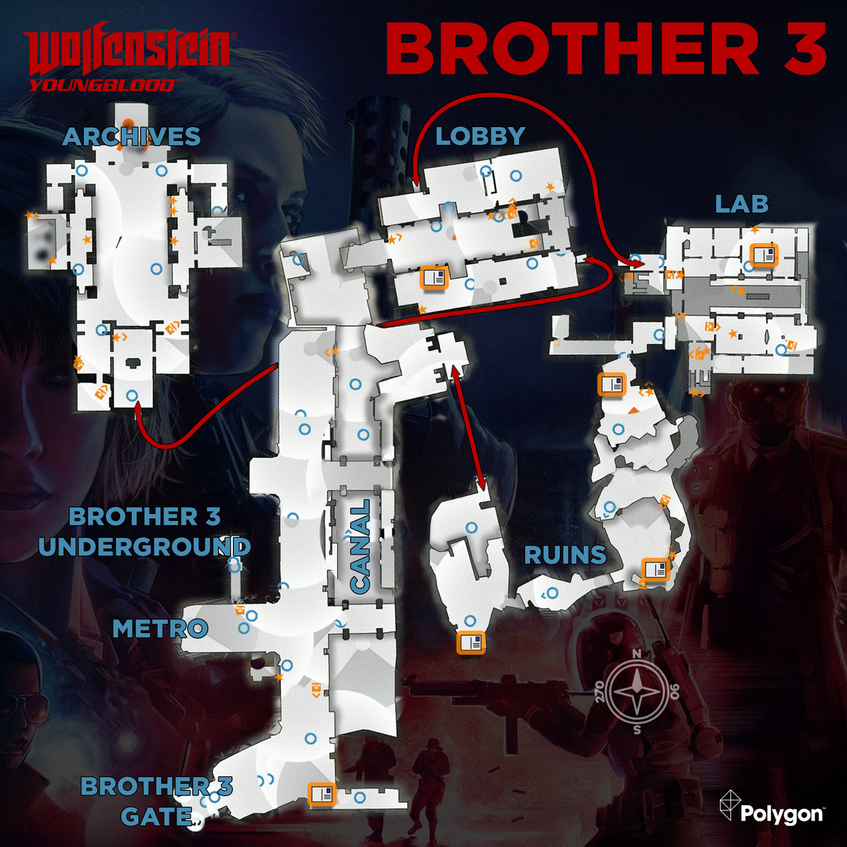 Wolfenstein: Youngblood Brother 3 map with Readables icons