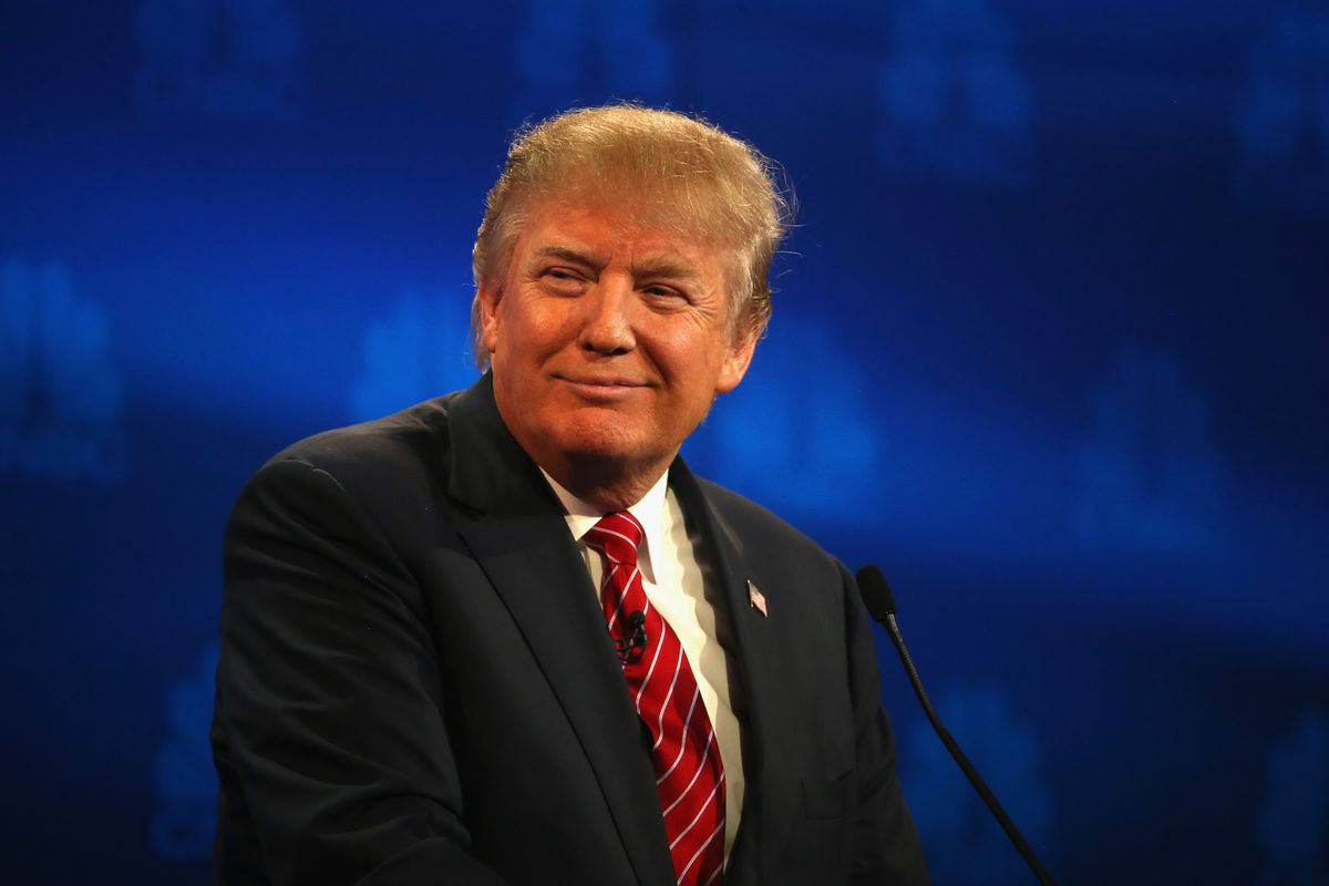 Trump looking smug during a primary debate.