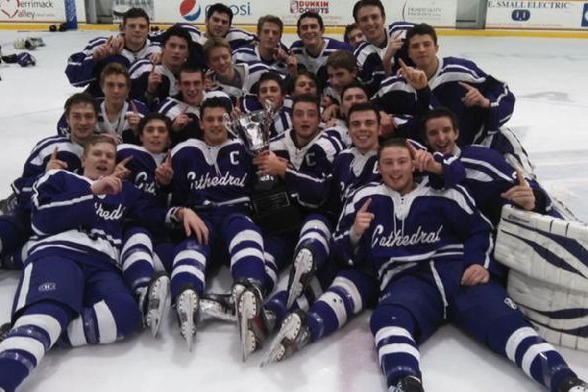 Cathedral poses with the Pete Frates Classic trophy.