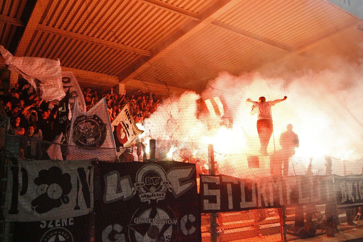 Fans of Wanderers opponents Sturm Graz