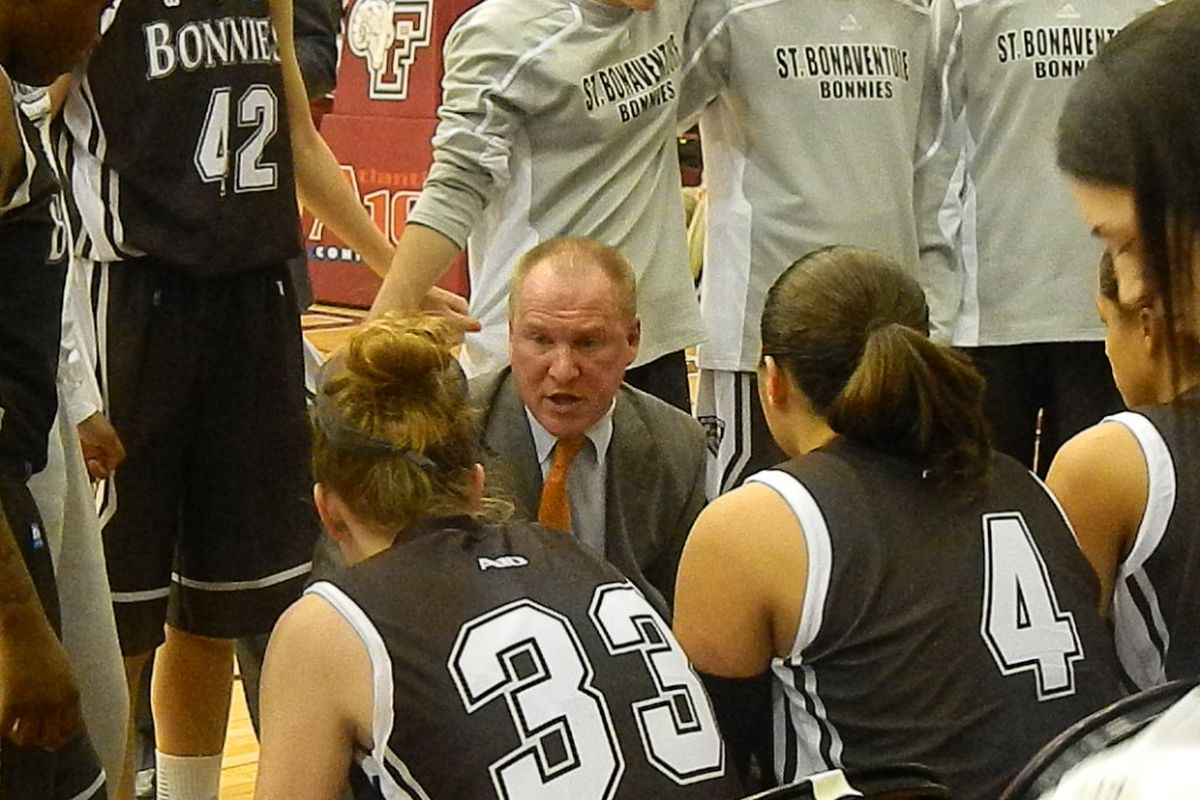 St. Bonaventure coach Jim Crowley addresses his team during a time out at Fordham on Wednesday.