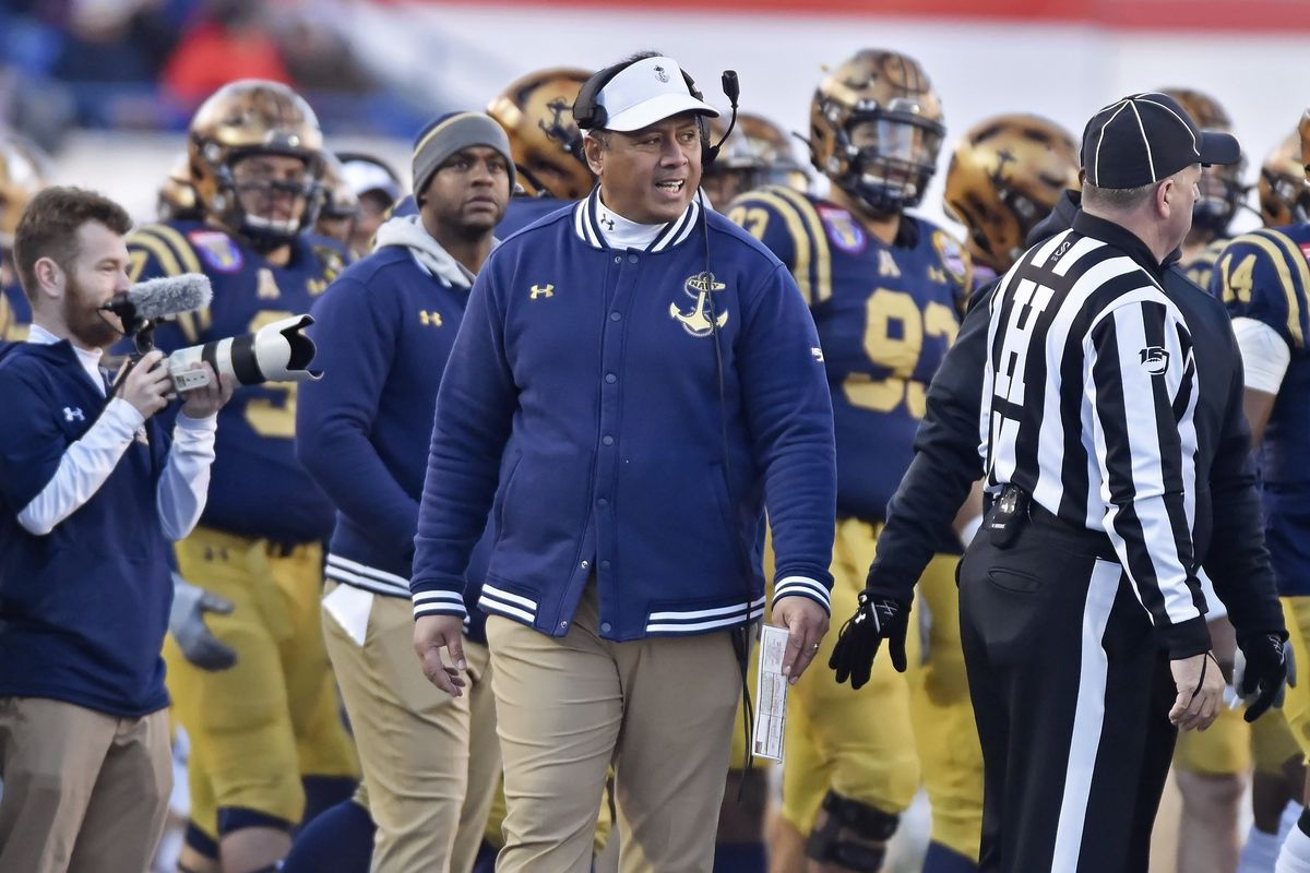 Navy coach Ken Niumatalolo walks down the sideline during a second quarter timeout during the Navy Midshipmen game versus the Kansas State Wildcats in the AutoZone Liberty Bowl on December 31, 2019, at the Liberty Bowl Memorial Stadium in Memphis, TN.