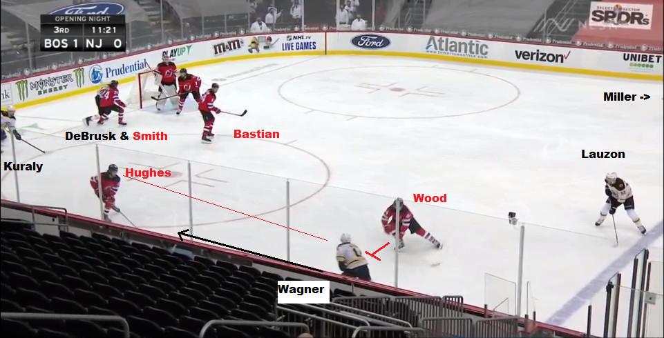 Part 1: Wagner fires a puck to the right corner - which will rim around, missing Kuraly and DeBrusk
