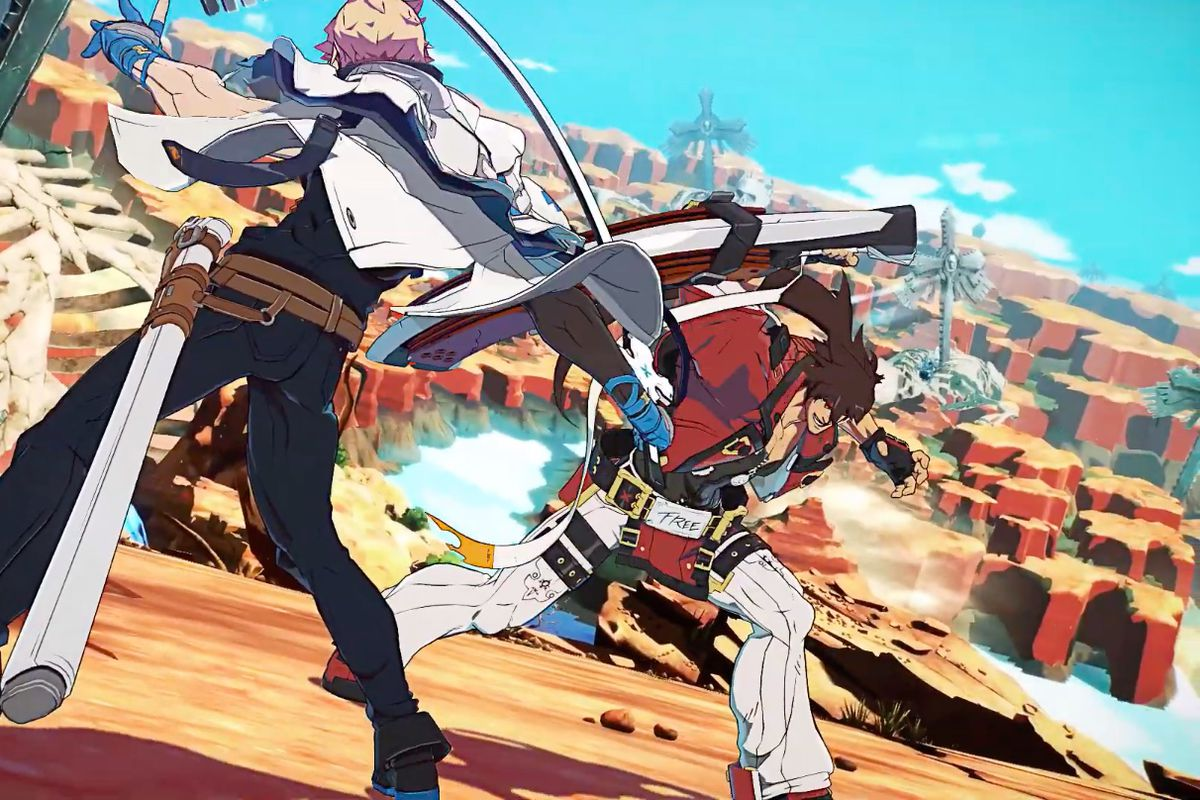 Ky Kiske and Sol Badguy fight in a desert wasteland in a screenshot from Guilty Gear (2020)