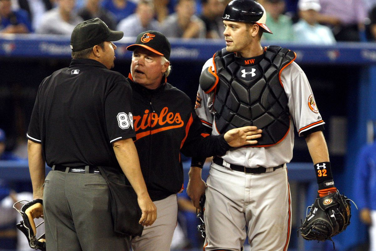 TORONTO, CANADA - MAY 29:  Buck Showalter (Manager) and Matt Wieters #32 of the Baltimore Orioles argue a strike call with Umpire Doug Eddings during MLB action against the Toronto Blue Jays.