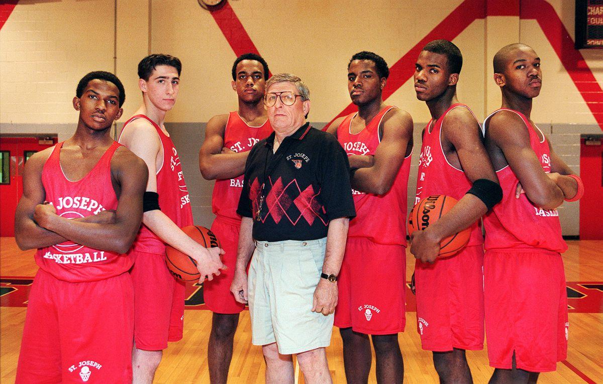 Gene Pingatore and his 1997 team: L-R...Larry Sanders, Steve Chvatal, Mark Treadwell, Gene Pingatore, Chauncy Dampier, Rob Walls, Marlon London.