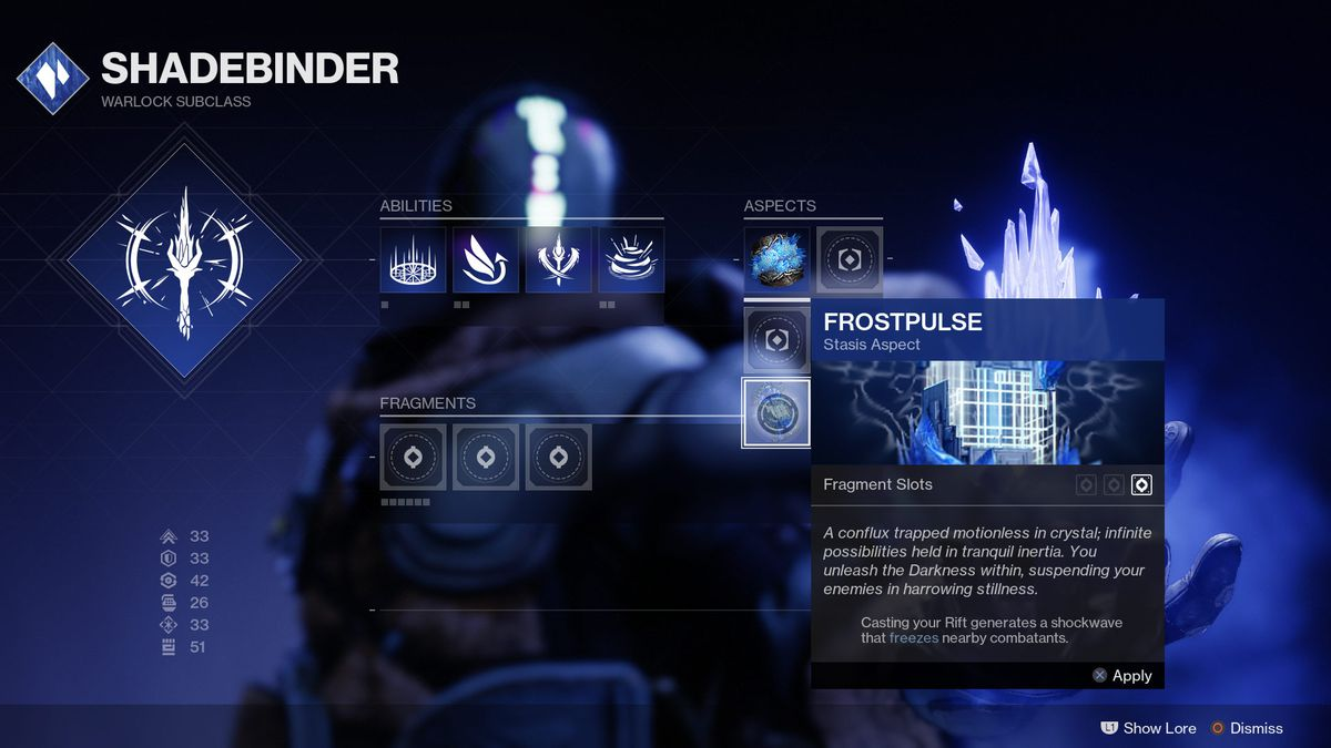 Warlock shadabinder frostpulse facet