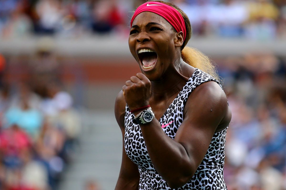 Is Serena celebrating a win, or shaking her fist in anger about the no-jeans rule?