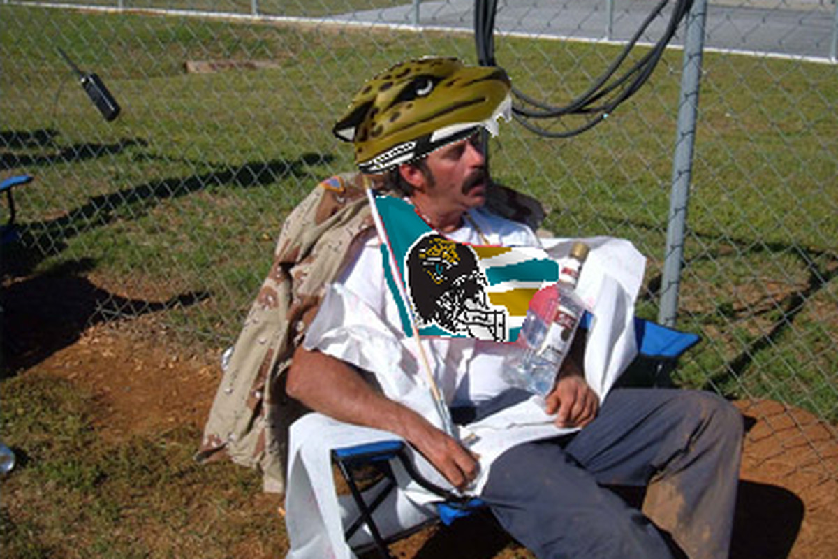 """""""Methadone Phil"""" Harris seen here celebrating the Jaguars victory over the Titans."""