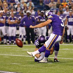 Aug 9, 2013; Minneapolis, MN, USA; Minnesota Vikings kicker Blair Walsh (3) kicks a field goal in the second quarter against the Houston Texans at the Metrodome.