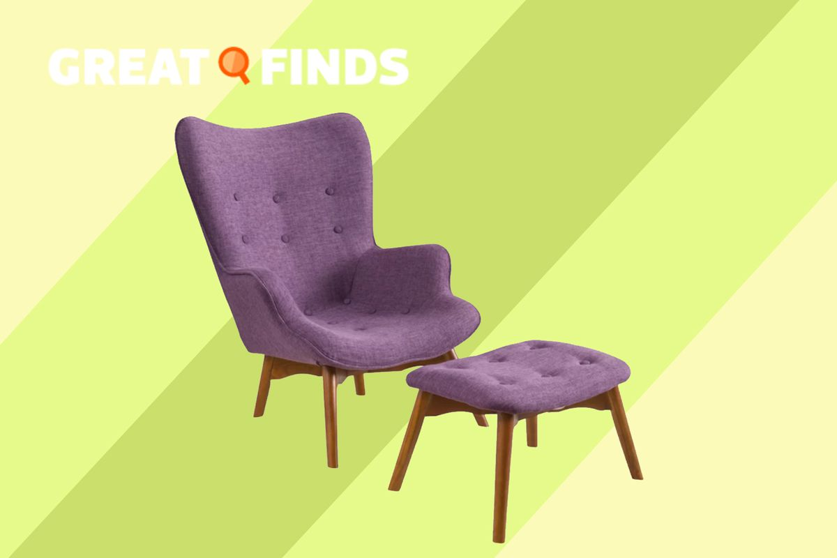 Canyon vista mid century wingback chair and ottoman for 211 99 usually 287 99 wayfair