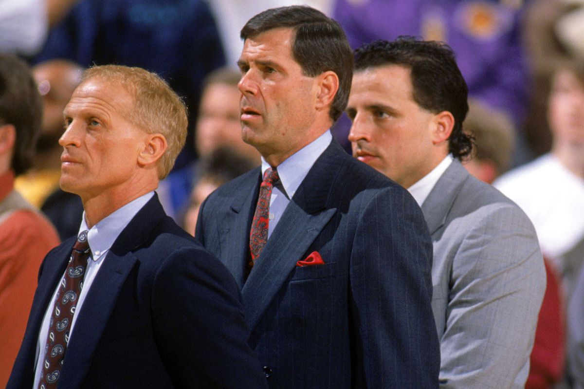 Members of the inaugural Timberwolves coaching staff in 1990: Bill Musselman, Bob Zuffelato, and Tom Thibodeau (GettyImages)