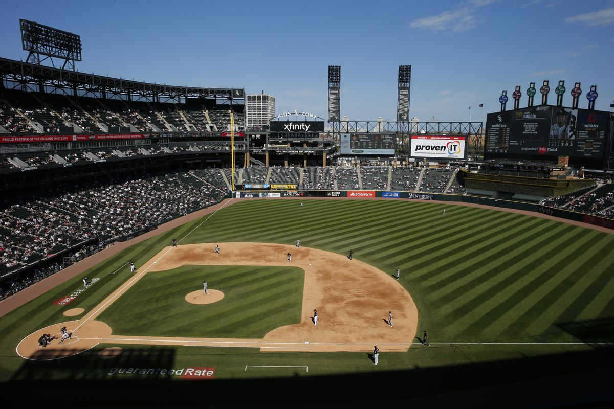 A general view of Guaranteed Rate Field during the game between the Chicago White Sox and the Cleveland Indians on May 01, 2021 in Chicago, Illinois.