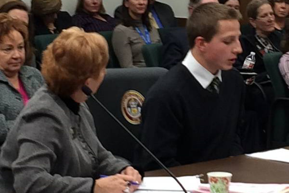 High school student Dylan McNally (right) testified in favor of gifted and talented bill. Sponsor Rep. Cherilyn Peniston, D-Westerminster, is at left.
