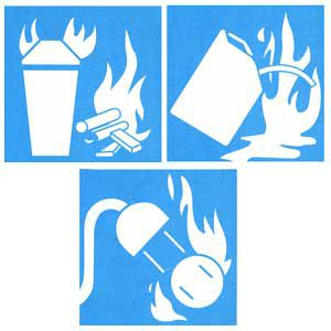 """<p>Look for all three of these icons for an ABC-rated extinguisher that will handle all major fire types. """"A"""" puts out fires fueled by wood, paper, cloth, rubber, most plastics and fabrics. """"B"""" extinguishes fires fueled by flammable liquids, like oil, gasoline, grease and kerosene. """"C"""" is for fires caused by TVs, wiring, electronic devices and other electrical equipment.</p>"""
