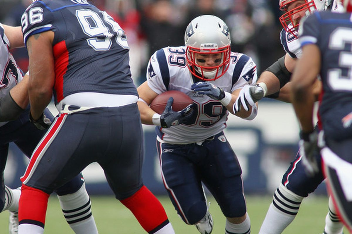 ORCHARD PARK NY - DECEMBER 26:  Danny Woodhead #39 of the New England Patriots runs against the Buffalo Bills  at Ralph Wilson Stadium on December 26 2010 in Orchard Park New York. New England won 34-3.  (Photo by Rick Stewart/Getty Images)