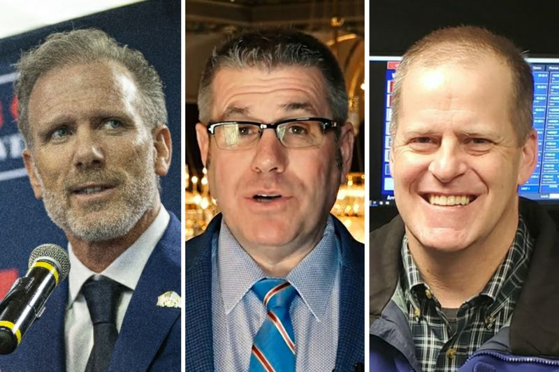 Suburban businessman Gary Rabine, left, in March; State Sen. Darren Bailey, R-Xenia, center; former state Sen. Paul Schimpf, right.