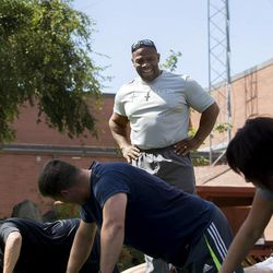Ron Williams, a nondenominational Christian pastor, trains members of the Utah National Guard at the headquarters on Thursday, Aug. 14, 2014.