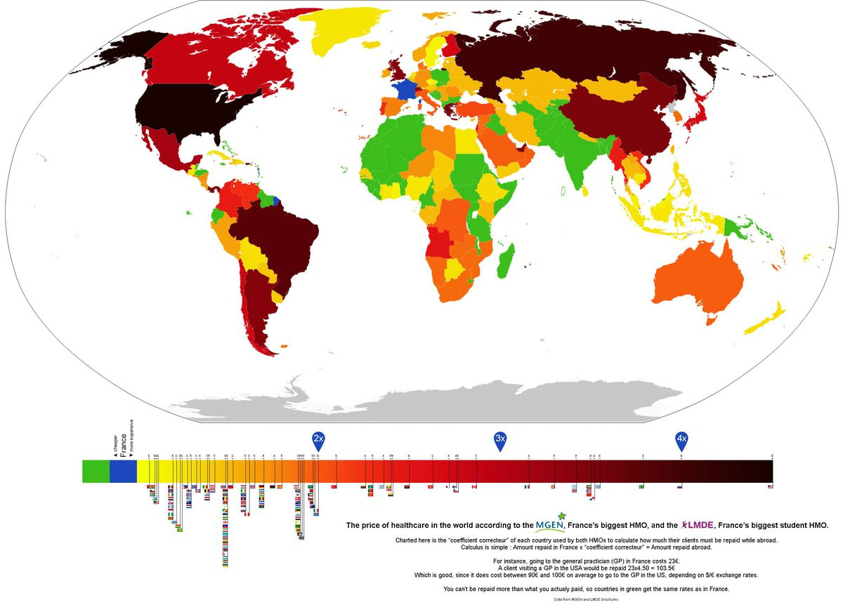 This Map Of Global Health Care Prices Shows Americans Are Getting - I need a world map