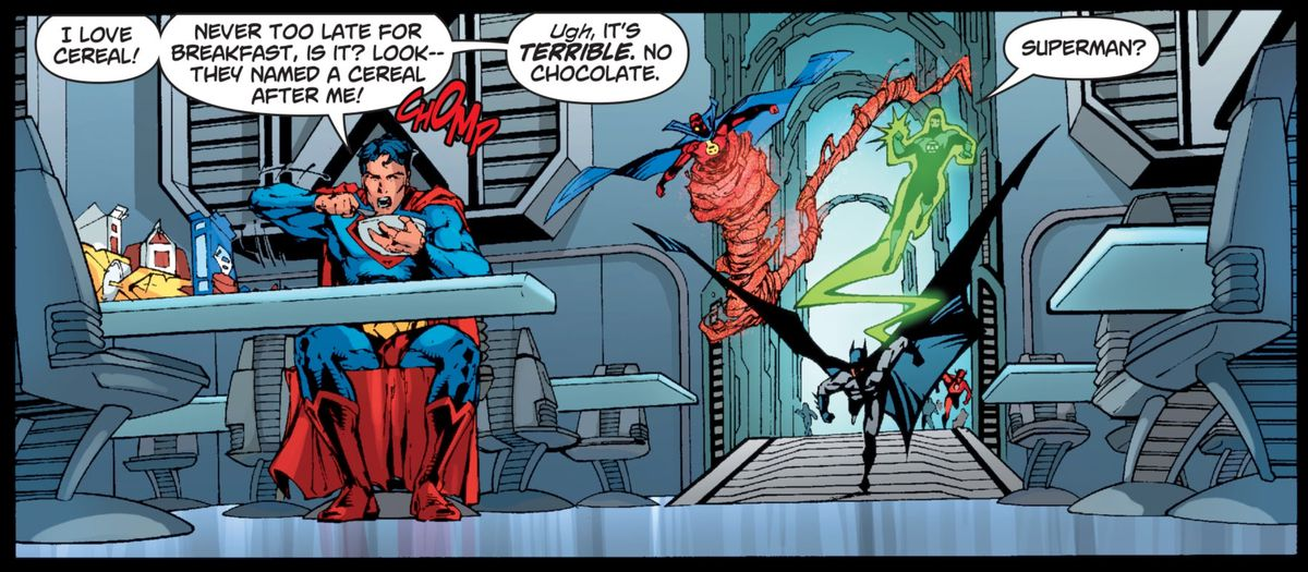 Superman uses superspeed to eat all the cereal in the Justice League Watchtower as the League pursues, in Superman/Batman # 46, DC Comics (2008).