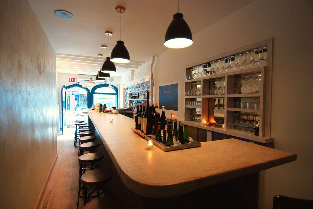The blonde wood bar at Ruffian