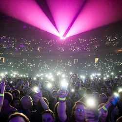 Lights fill the audience at the Imagine Dragons concert in Tulsa, Olka.
