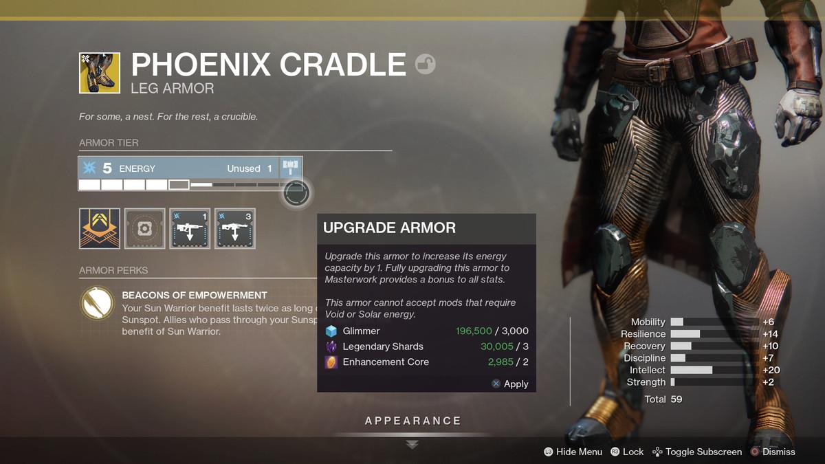 Destiny 2: Shadowkeep Phoenix Cradle Exotic Titan legs