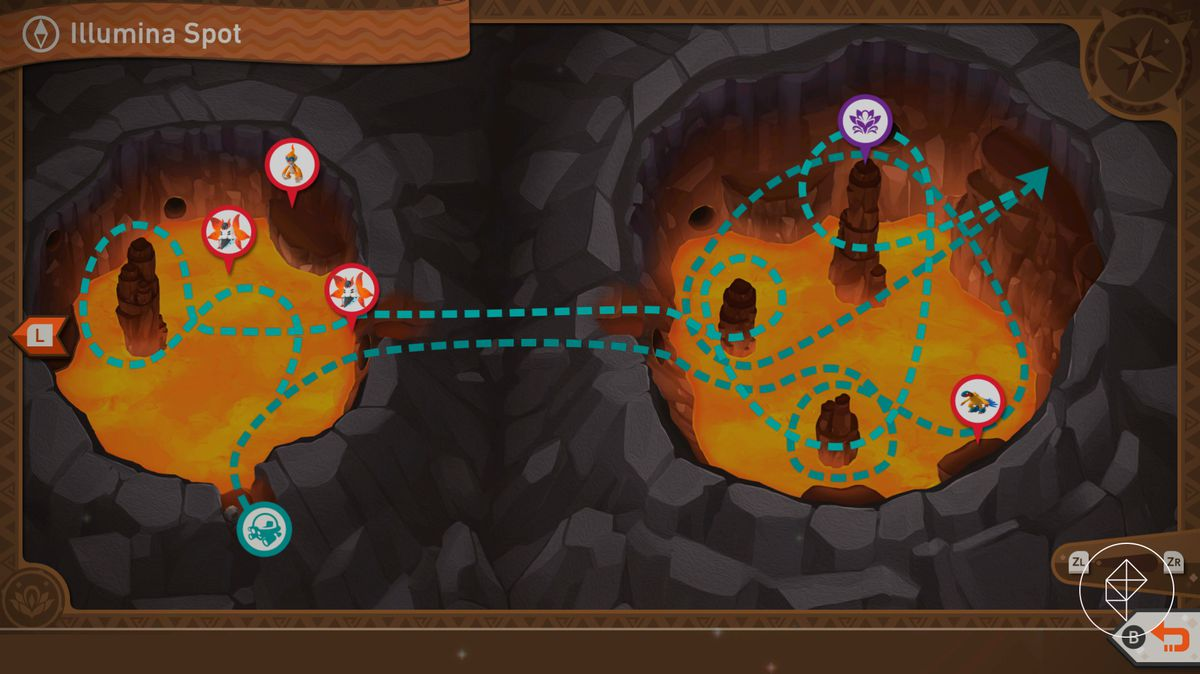 A map showing the winding path that you take in Fireflow Volcano's Illumina Spot
