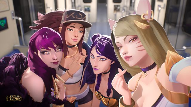 the four women of K/DA, the fictional K-pop group in League of Legends