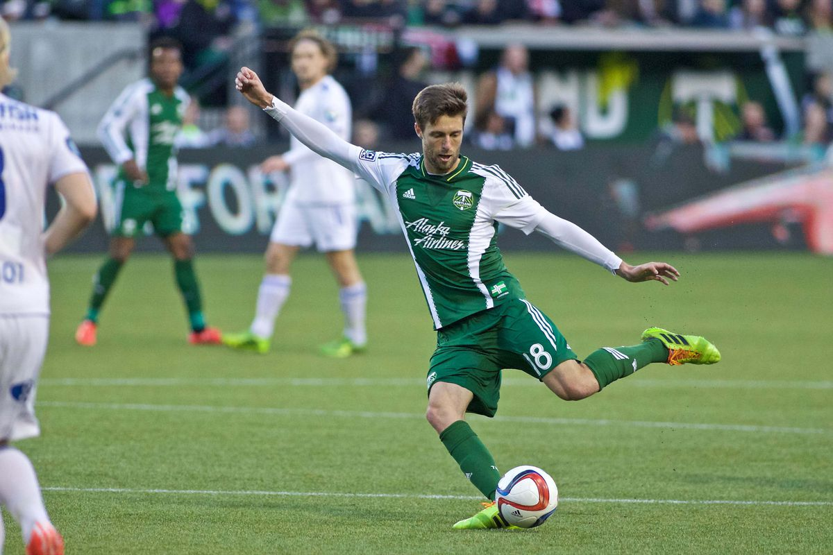 Portland Timbers midfielder Blair Gavin takes a shot against Stabaek during the first half at Providence Park