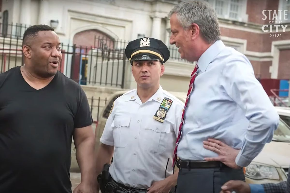 NYPD Deputy Inspector Craig Edelman makes an appearance in Mayor Bill de Blasio's 2021 State of the City video.