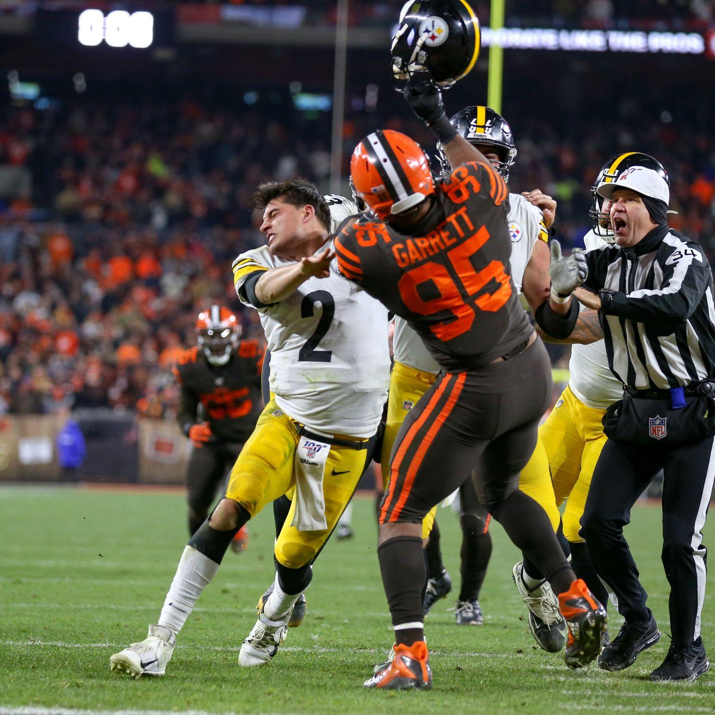 The Myles Garrett vs. Mason Rudolph Steelers Browns fight ...