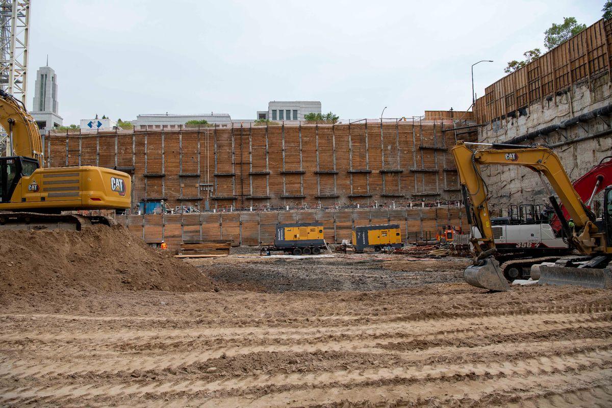 Additional excavation creates room for three new levels of the temple, Salt Lake City, Utah, Sept. 2021.